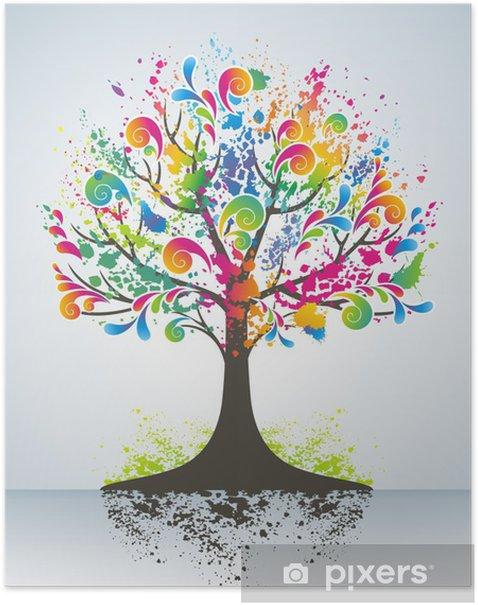 Plakat Abstrakcyjna kolorowe drzewa - Pory roku