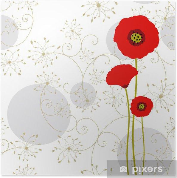 Plakat Abstrakcyjna Mak czerwona kartka z pozdrowieniami - Tła