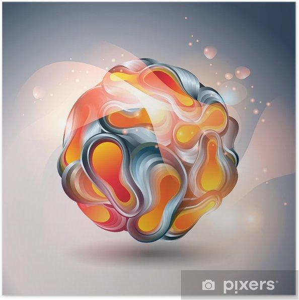 Plakat Abstrakcyjna piłka z przekształcenia formy na szarym tle. wektor - Tła