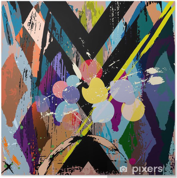 Plakat Abstrakcyjna skład, z uderzeń, zachlapaniem i Rom - Style