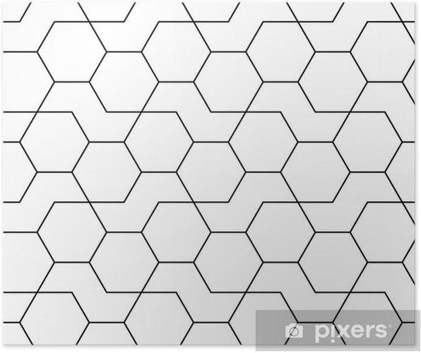 Plakat Abstrakcyjne Geometryczne Czarno Białe Hipster Mody Wzór Druku Wzór Sześciokątnym