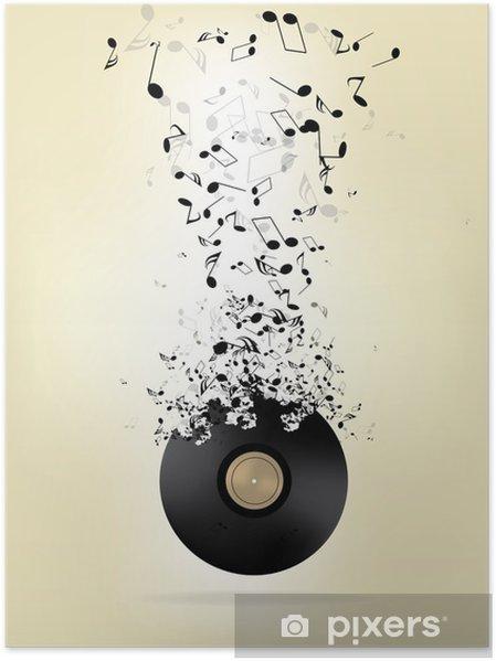 Plakat Abstrakcyjne Tło Muzyczne Z Nutami