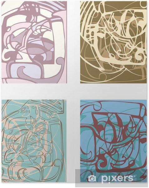 Plakat Abstrakcyjne tło na podstawie stylizowanych formach. - Życie