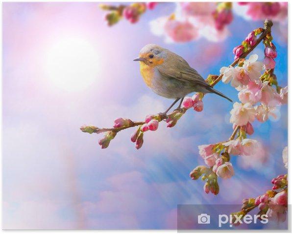 Plakat Abstrakcyjne tło z granicy wiosny kwiat różowy - Tematy