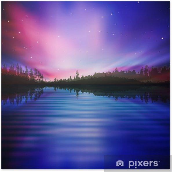 Plakat Abstrakcyjne tło z jeziora lasu i wschodem słońca - Cuda natury