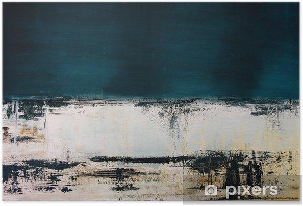 Plakat Abstrakcyjny Niebieski Obraz Akrylowy Na Płótnie