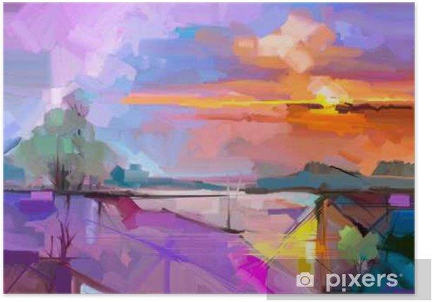 Plakat Abstrakcyjny obraz olejny pejzaż tła. Artwork nowoczesny obraz olejny pejzaż na zewnątrz. Semi abstrakcyjne drzewa, wzgórza z słonecznych (słońca), kolorowe żółty - fioletowy nieba. Piękno przyrody w tle - Hobby i rozrywka