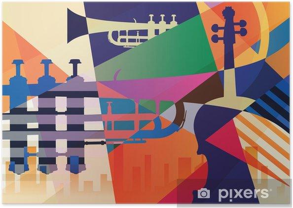 Plakat Abstrakcyjny plakat jazzowy, tło muzyczne - Zasoby graficzne