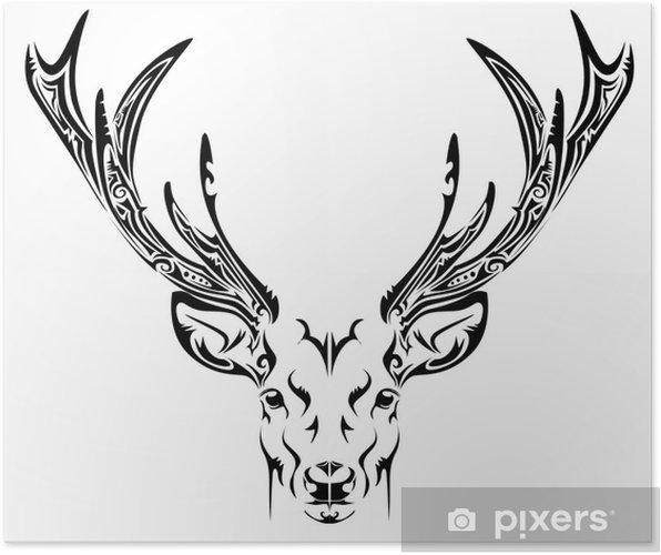 Plakat Abstrakcyjny Tatuaż Plemienny Głowy Jelenia