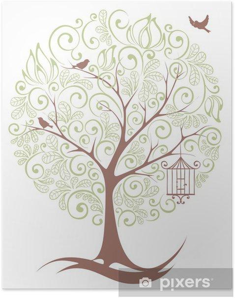 Plakat Abstrakcyjny wzór - drzewo - Pory roku