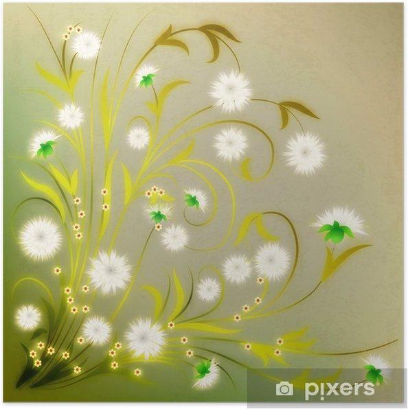 Plakát Abstraktní grunge ilustrace s květinami - Pozadí