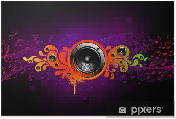 Plakát Abstraktní hudební ilustrace s reproduktory -