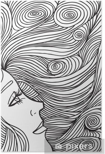 Plakát Abstraktní portrét ženy čelí. Vektorové ilustrace. - Témata