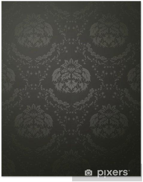 Plakat Adamaszek bezszwowe wzór - Kwiaty