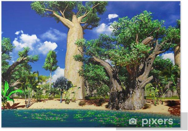 Plakat Afrykańska sawanna z bujną roślinnością i ruchliwej przy basenie - Tematy