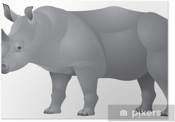 Plakat Afrykański Nosorożec w wektorze - Afryka