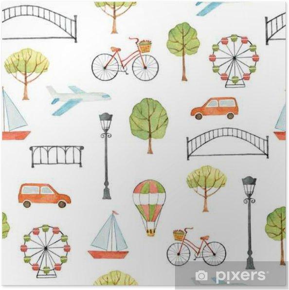 Plakát Akvarel bezproblémové vzorek s městskými prvky. - Stavby a architektura