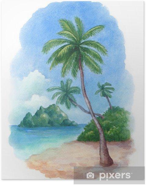 Plakát Akvarel ilustrace na tropické pláži - Nálepka na stěny