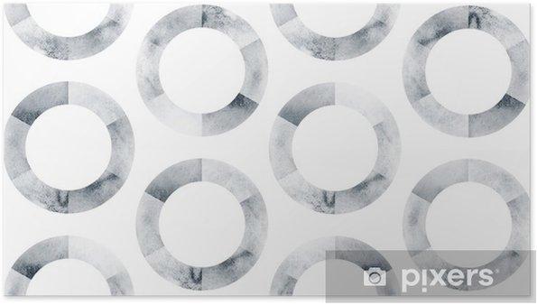 Plakát Akvarel polygonální backgroundBlack a bílý kruh vzoru - Grafika