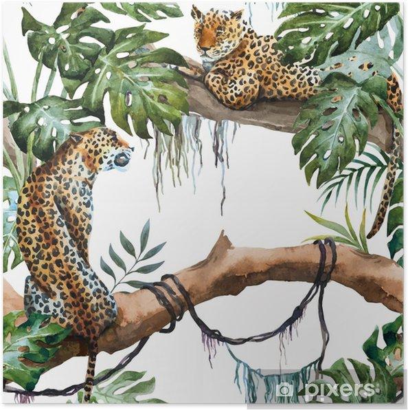 Plakát Akvarel vektor leopard vzor - Rostliny a květiny