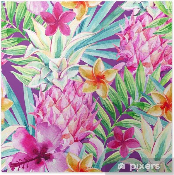 Plakat Akwarela ananasowy owocowy wzór - Rośliny i kwiaty