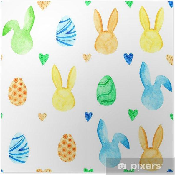Plakat Akwarela Króliczek Wzór święta Wielkanocne Do Projektowania Karty Druku Lub Tła