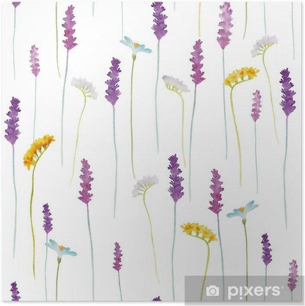 Plakat Akwarela kwiaty wzór - Kwiaty i rośliny