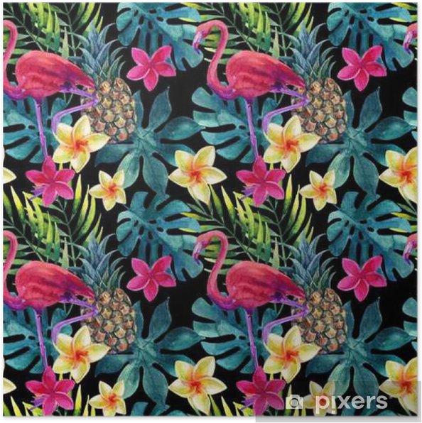 Plakat Akwarela tropikalny ananas, kwiaty i liście z cieniami - Rośliny i kwiaty