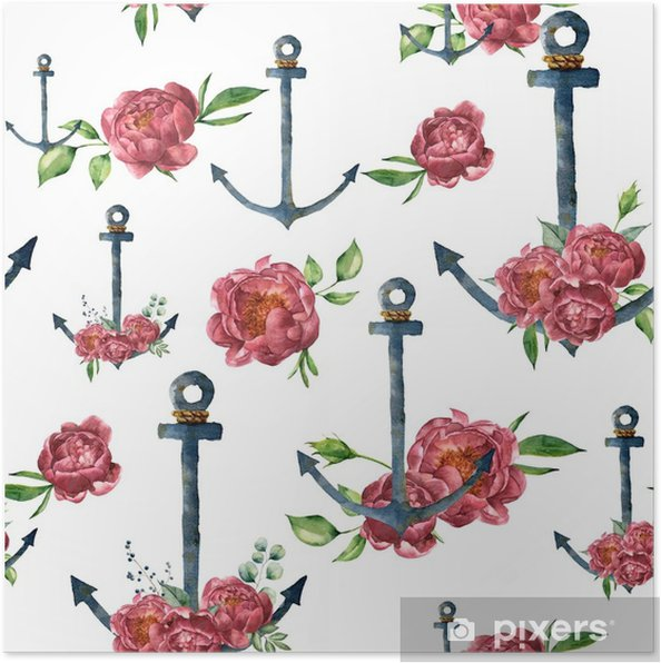 Plakat Akwarela Wzór Z Rocznika Kwiat Kotwicy I Piwonii Ręcznie Malowane Morskie Ilustracji Z Kwiatowy Wystrój Na Białym Tle Do Projektowania