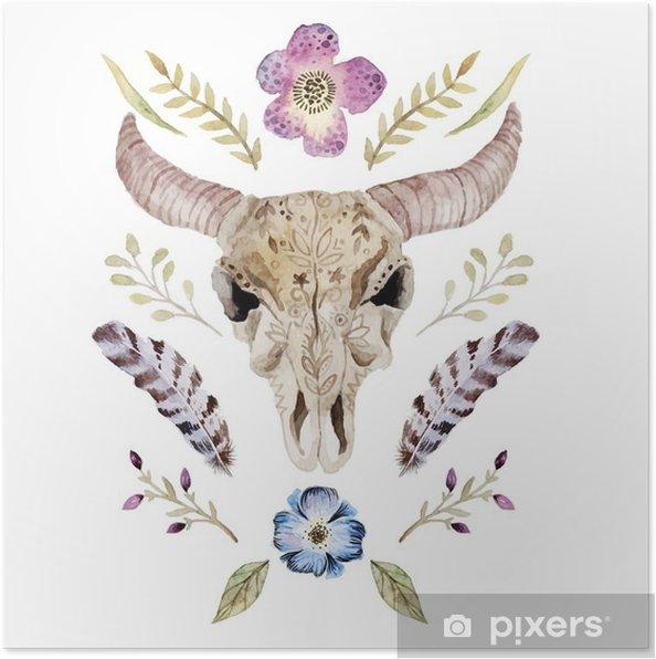 Plakat Akwarele ilustracji wektorowych boho z czaszką - Zasoby graficzne