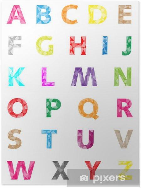 Plakat Alfabet kolorowe geometryczne wektor - Edukacja