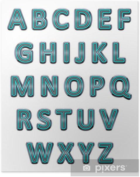 Plakat Alfabet srebrny. - Abstrakcja