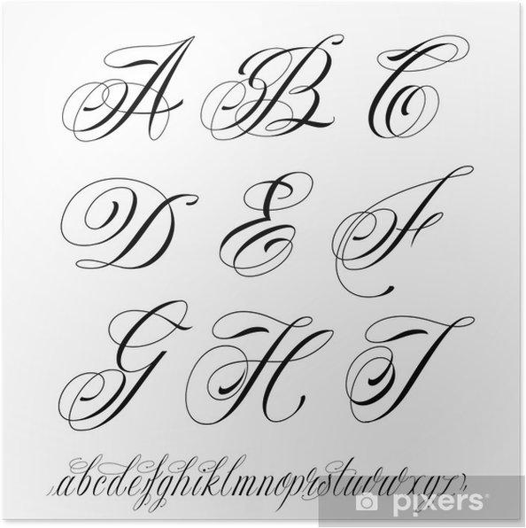 Plakat Alfabet Styl Tatuaż