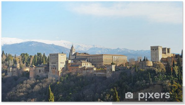 Plakat Alhambra w Granadzie, Sierra Nevada, Andaluzja, Hiszpania - Europa