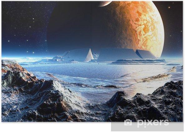 Plakat Alien Arena Ruiny poniżej dwóch księżyców -