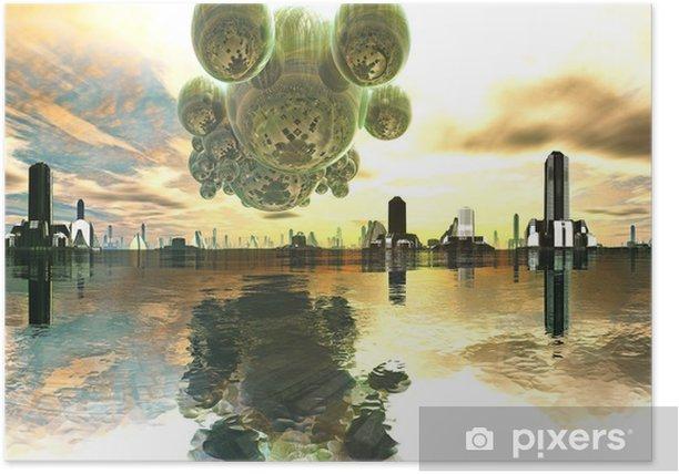 Plakát Alien Mothership přes futuristické město - Meziplanetární prostor