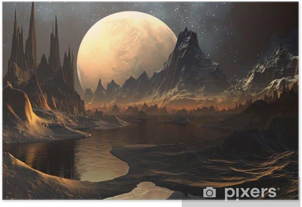 Plakat Alien Planet - 3D świadczonych grafiki komputerowe - Przestrzeń kosmiczna