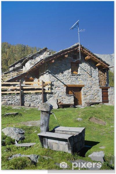 Plakat Alpine hut - Budynki prywatne