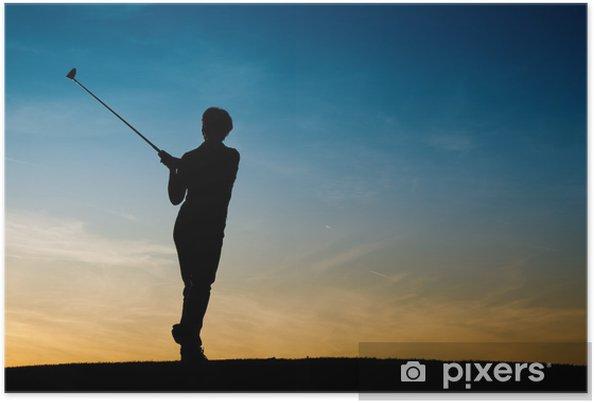 Plakát Ältere Golfspielerin als silueta - Individuální sporty
