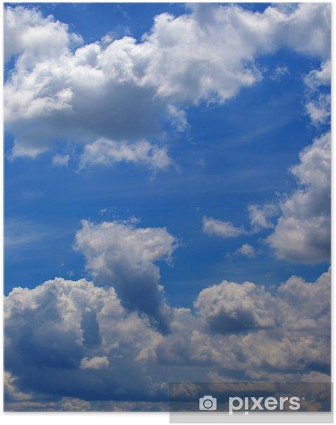 Plakát Amazing modrá obloha pozadí s malými mraky - Nebe