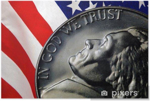 Plakát Americká vlajka odráží na Vintage 1967 Spojené státy Nikl - Finance