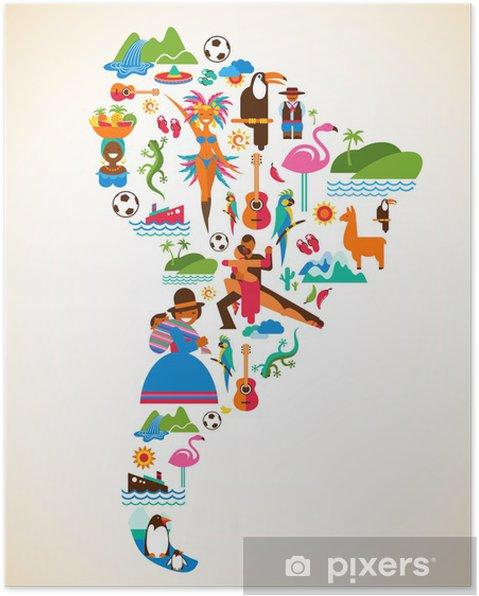 Plakat Ameryka Południowa miłości - ilustracja pojęcia z ikon wektorowych - Brazylia