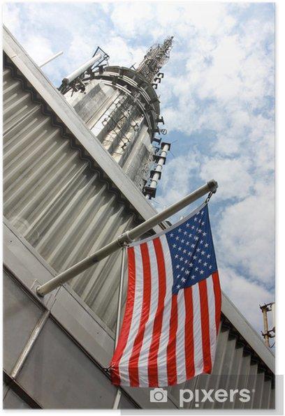 Plakat Amerykańska flaga na Empire State Building w Nowym Jorku - Wakacje