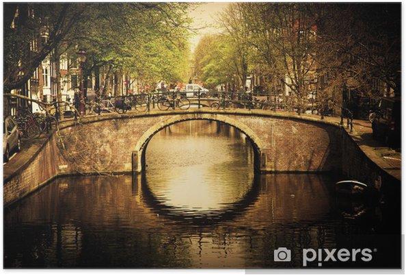Plakat Amsterdam. Romantyczny most nad kanałem. - Tematy