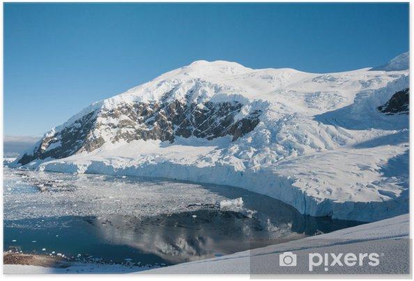 Plakat Antarctic góry, widok ze szczytu - Biegun Północny i Południowy