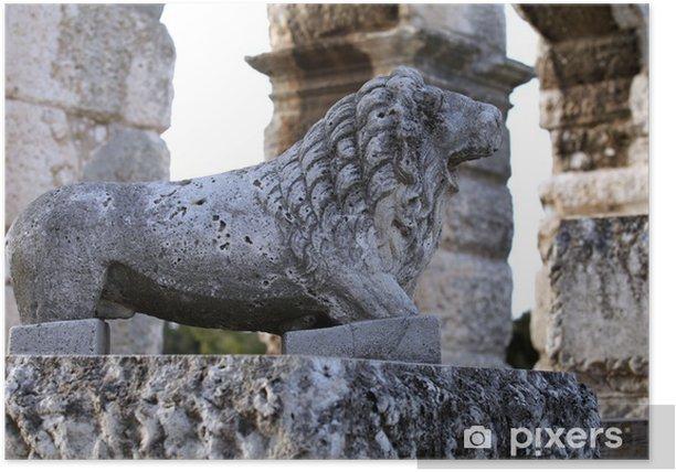 Plakat Antic stary rzymski amfiteatr Koloseum w Puli - Europa