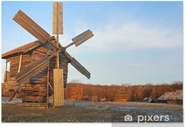 Plakat Antique walący drewniany wiatrak, Pirogovo, Kijów, Ukraina - Europa