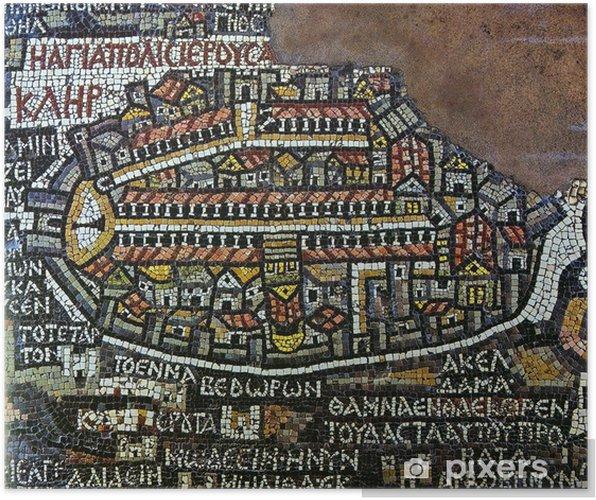 Plakat Antyczne mozaiki Jerusalem map - Sztuka i twórczość