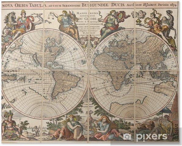 "Plakat Antyczny mapa świata: ""Nova tabula orbis"". H. Jaillot 1694 - Tematy"