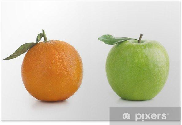 Plakat Apple i różnica Pomarańczowy - Owoce